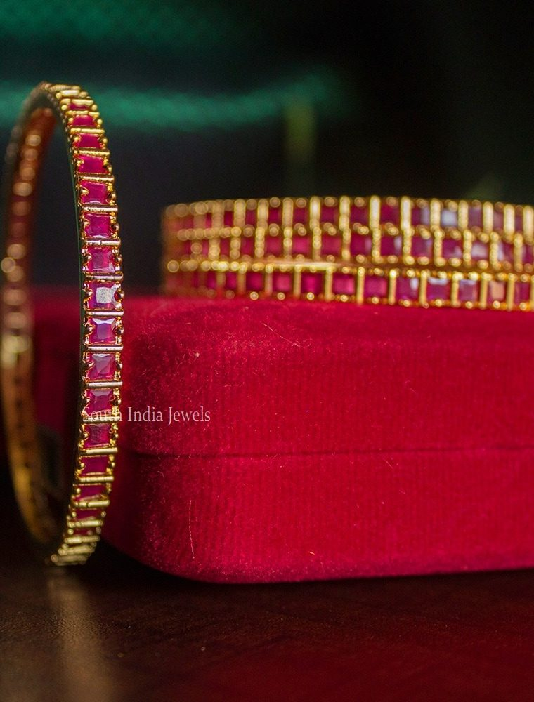 Square Cut Design Ruby Stone Four Bangles-01