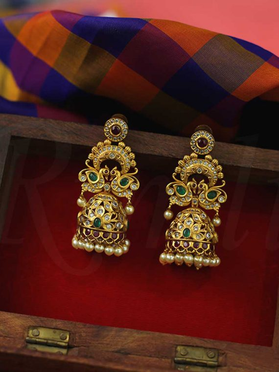 Traditional AD Peacock Motif Jhumka-01