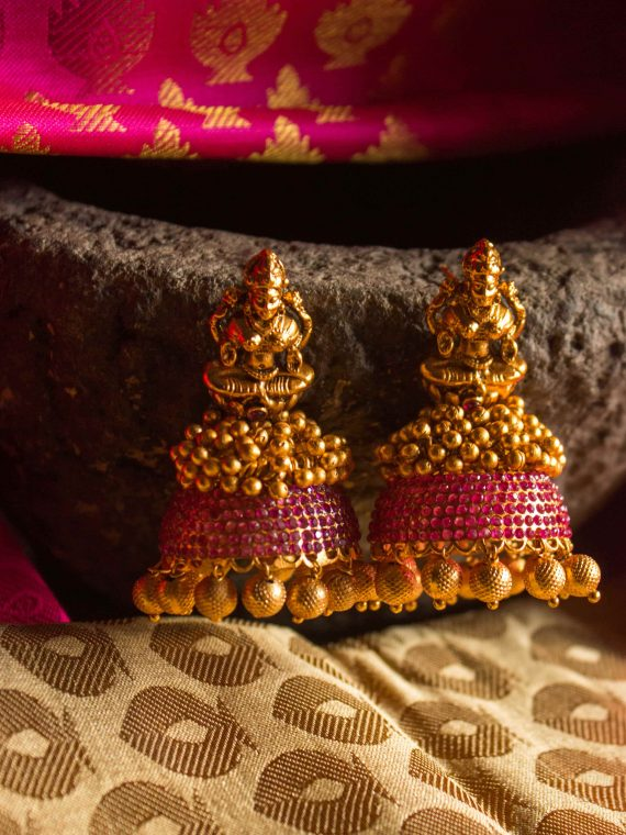Traditional Jhumka With Red Stones-01