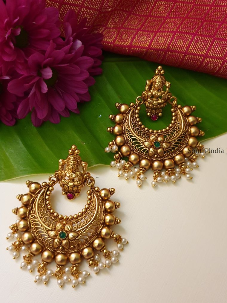 Traditional Lakshmi Chandbali Earrings