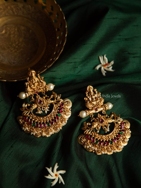 Traditional Lakshmi Coin Chandbali Earrings-01