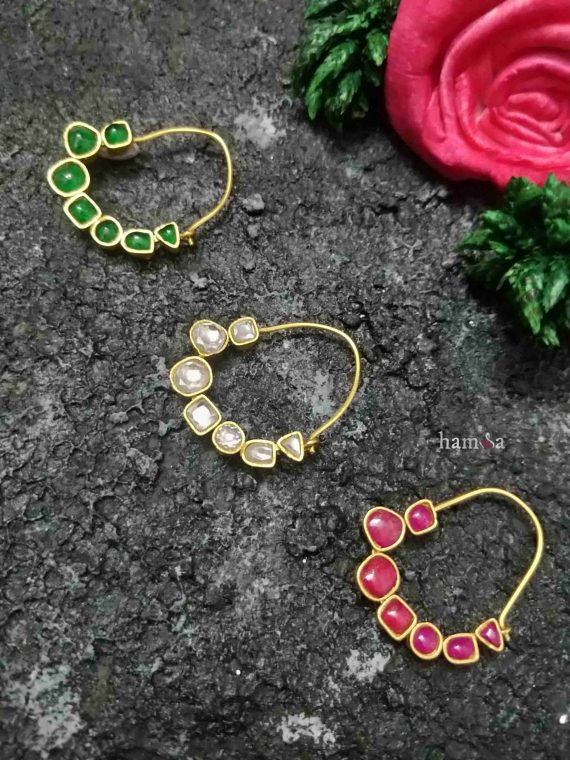 Traditional Silver Kundan Nose Rings-01