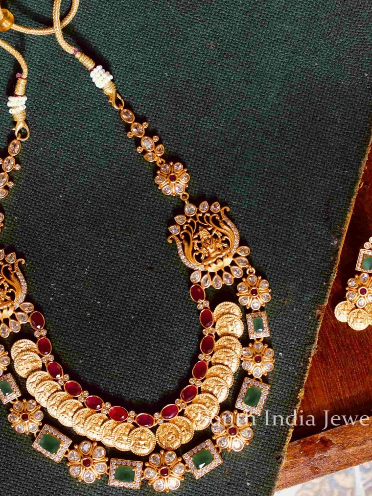 Trendy AD Stone Lakshmi Coin Necklace-01