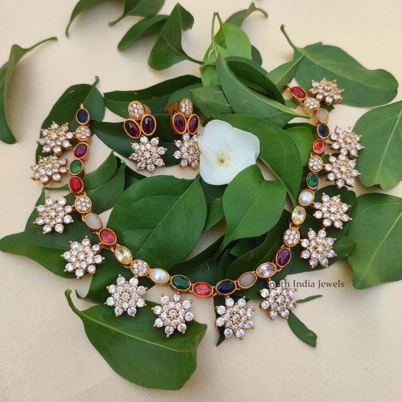 Trendy Designer Navarathna Necklace