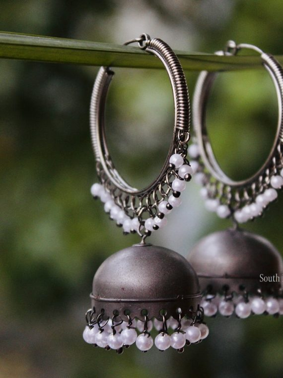 Weightless German Silver Matte Jhumka-01