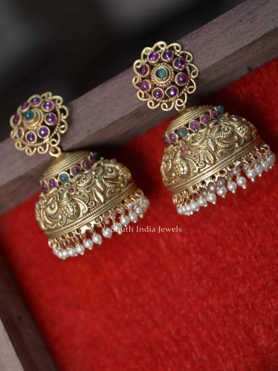 Beautiful Peacock Design Jhumkas