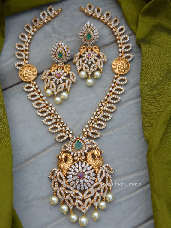 AD Stone Peacock Design Necklace