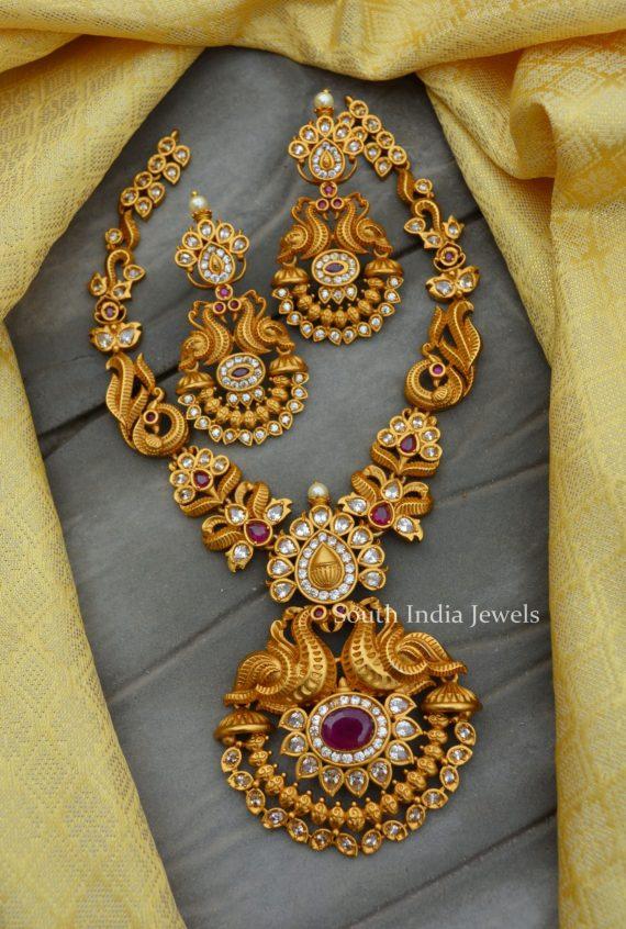 Amazing Peacock Design AD Stone Necklace