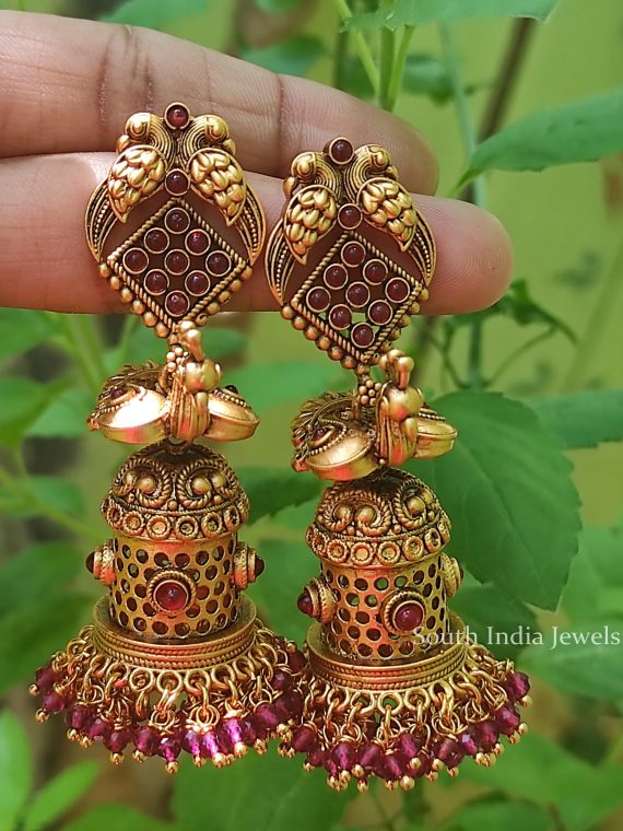 Amazing Peacock Design Temple Jhumka