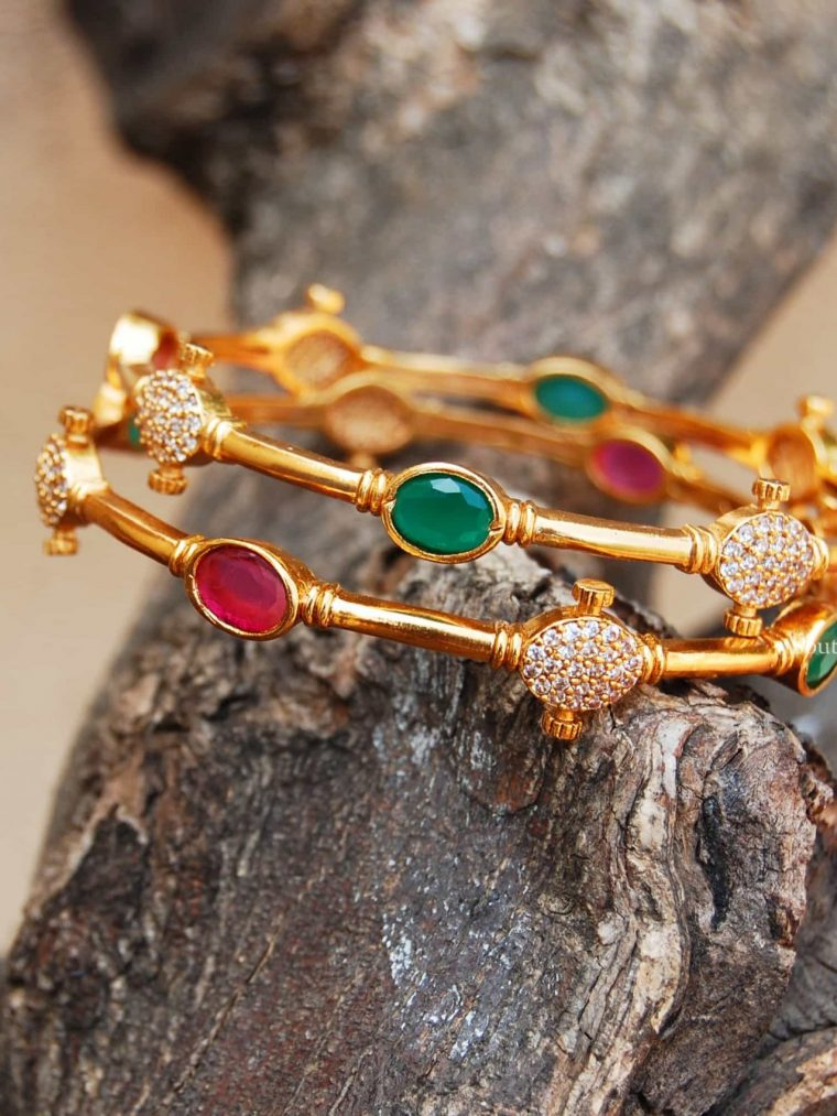 Amazing Ruby & Green AD Stone Bangles