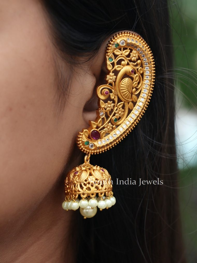 Antique Ear Cuff Jhumka with Pearl Drops
