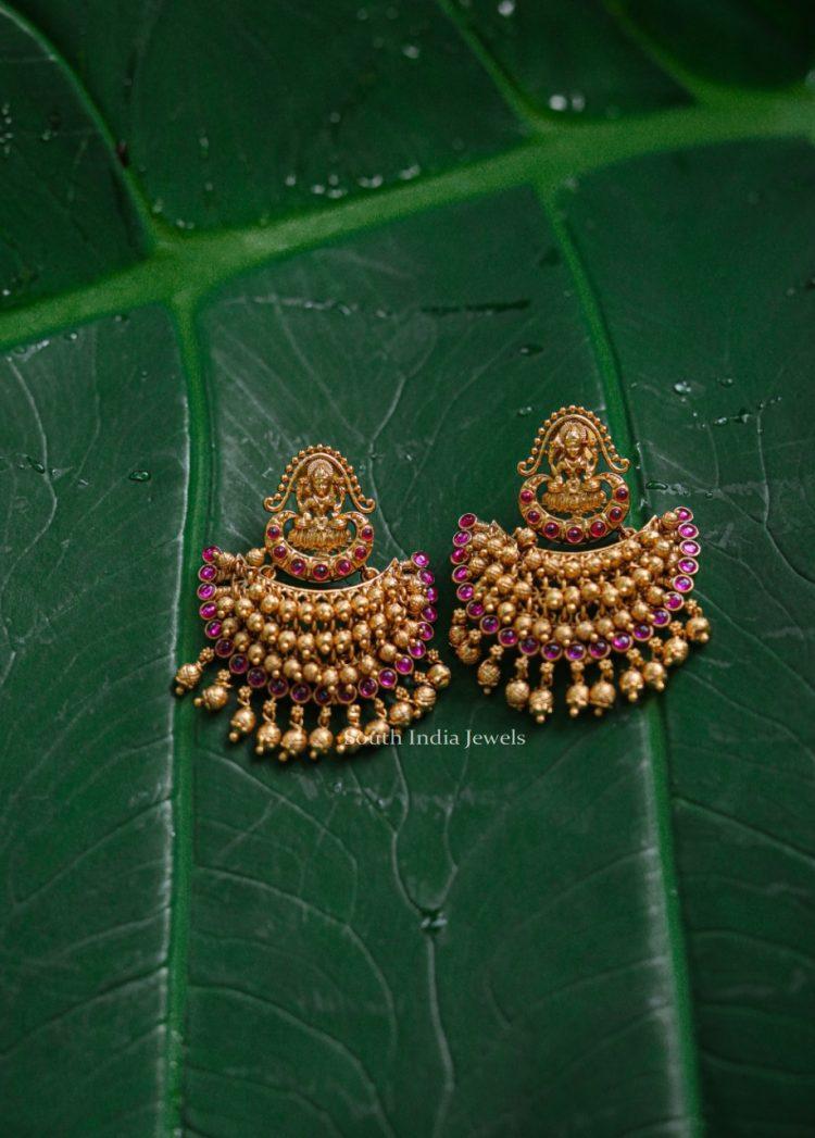 Antique Lakshmi Design Chandbali Earrings