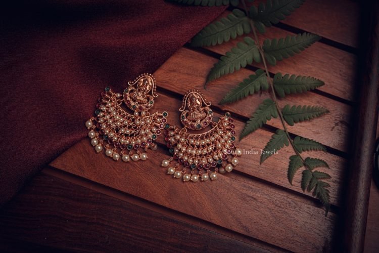 Antique Lakshmi Design Chandbali Earrings-02