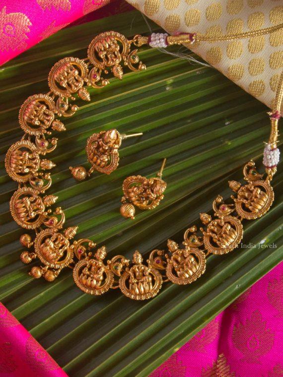 Antique Lakshmi Design Necklace with Earrings