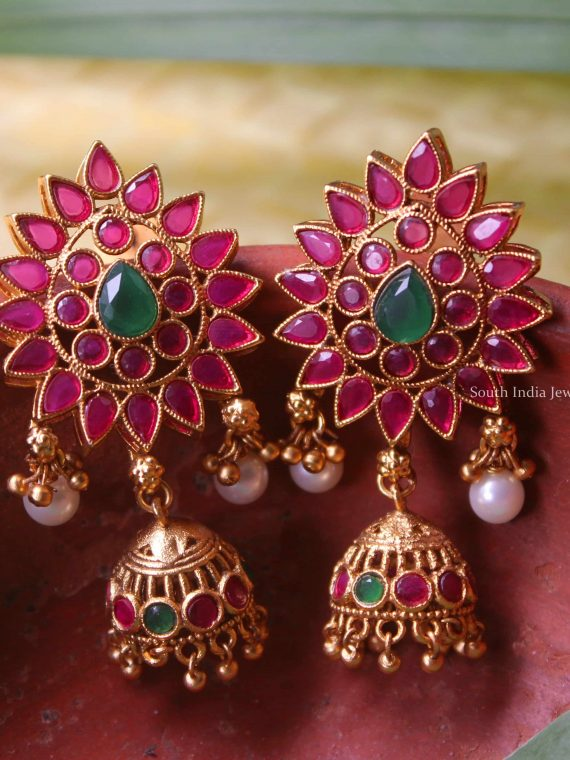 Antique Multi Color Stone Jhumka