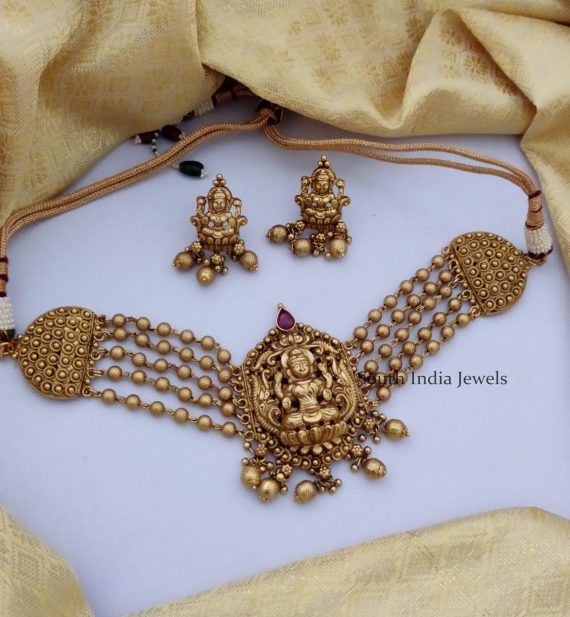 Antique Temple Lakshmi Gold Beaded Choker-01