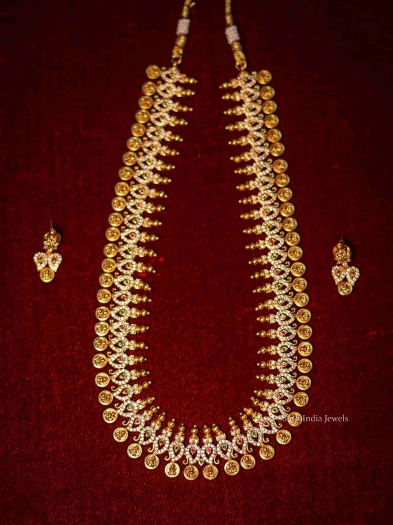 Beautiful AD Stone Lakshmi Coin Necklace