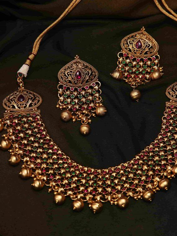 Beautiful Bridal Wear Ruby & Green Necklace