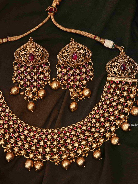 Beautiful Bridal Wear Ruby Stone Necklace