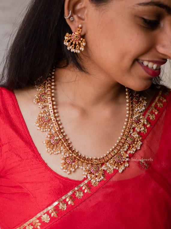 Beautiful Chakra Design Guttapusalu Necklace