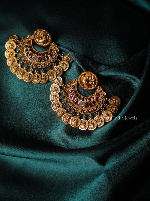 Beautiful Chandbali Lakshmi Coin Earrings