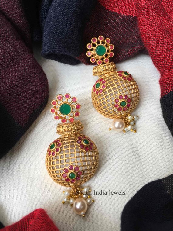 Beautiful Half Jhumka Chandbali Earrings