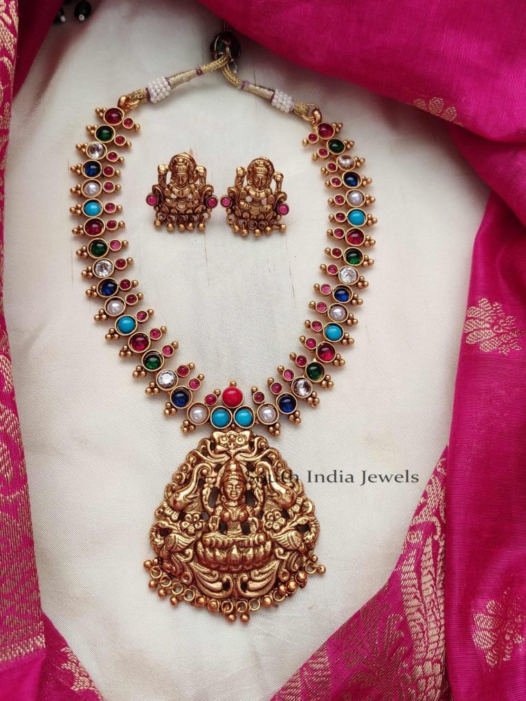 Beautiful Lakshmi Pendant Navarathna Necklace