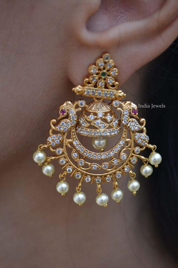 Beautiful Matte Finish AD Stone Earrings