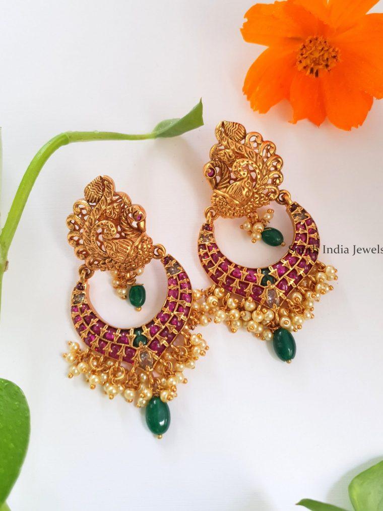 Beautiful Peacock Design Chandbali Earrings-01
