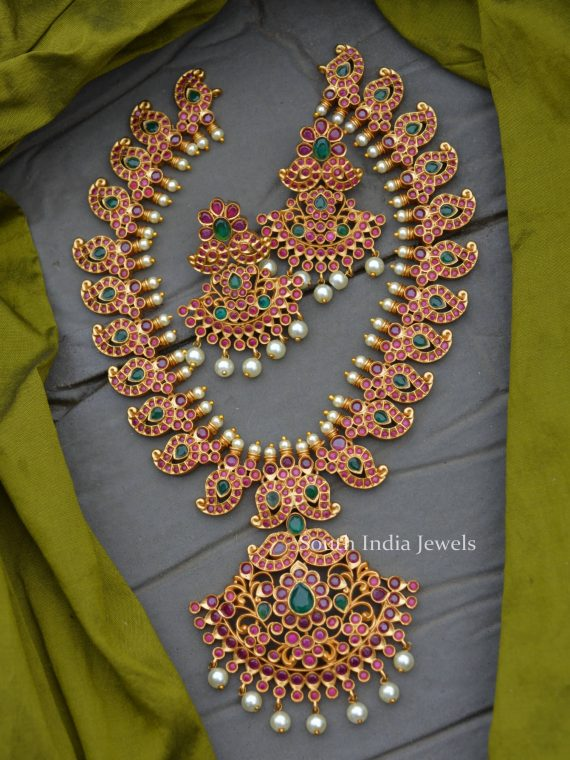 Beautiful Red & Green Mango Design Necklace