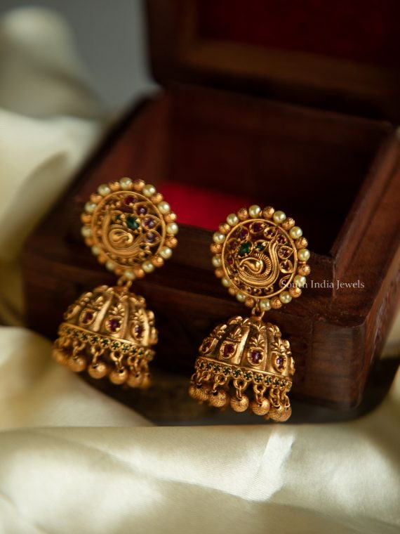 Beautiful Round Stud Matte Finish Jhumka