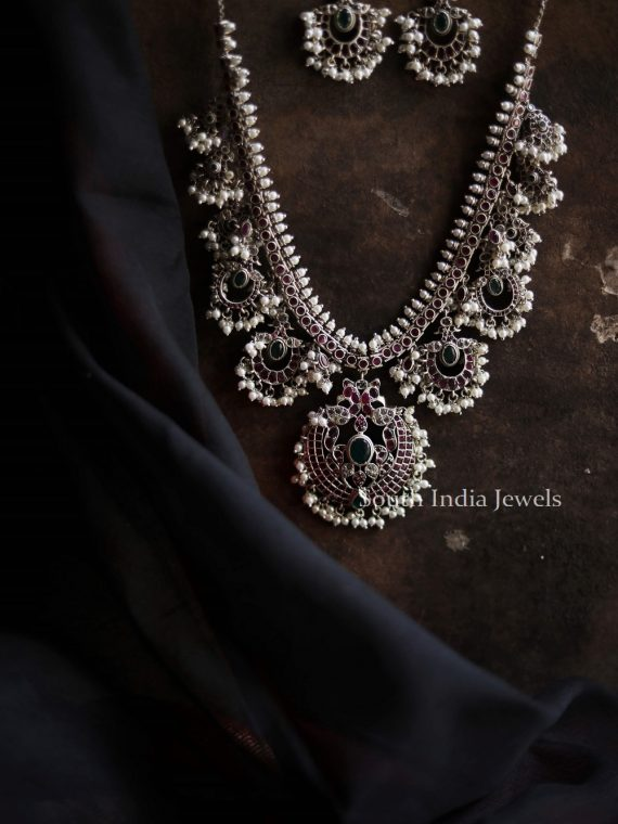 Beautiful Silver Matte Guttapusalu Necklace