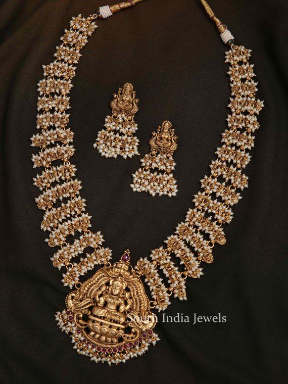Bridal Lakshmi Pearl Long Haram-01