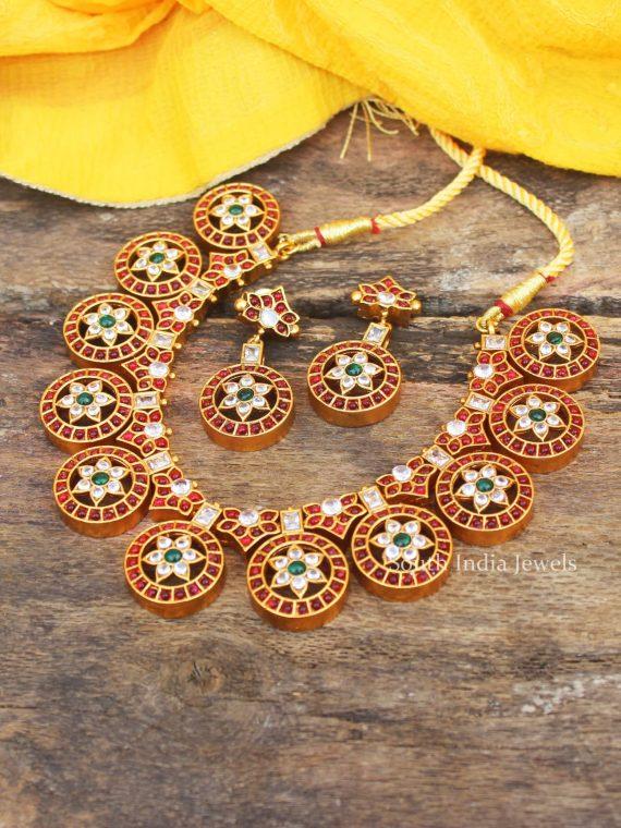 Bridal Wear Chakra Design AD Stone Necklace