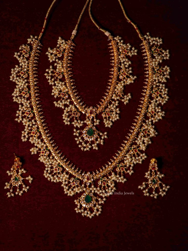 Bridal Wear Guttapusalu Combo Necklace Set