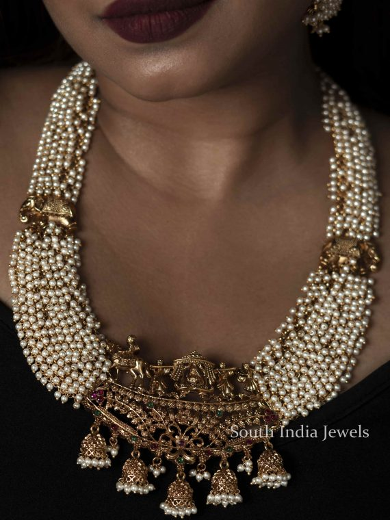 Bridal Wear Pearl Cluster Necklace
