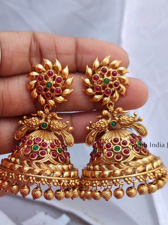 Classic Bridal Wear Peacock Design Jhumka