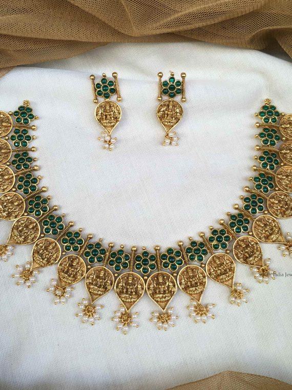 Classic Green Stone Studded Lakshmi Necklace