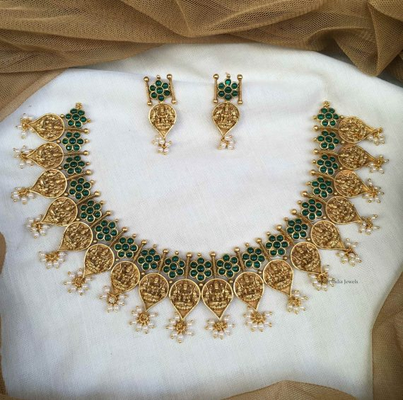 Classic Green Stone Studded Lakshmi Necklace