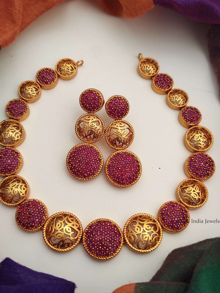 Designer Trendy Wear Red Color Stone Necklace-01