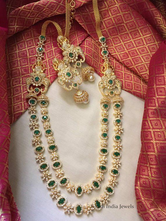 Diamond alike Emerald CZ Lakshmi Long Haram-01