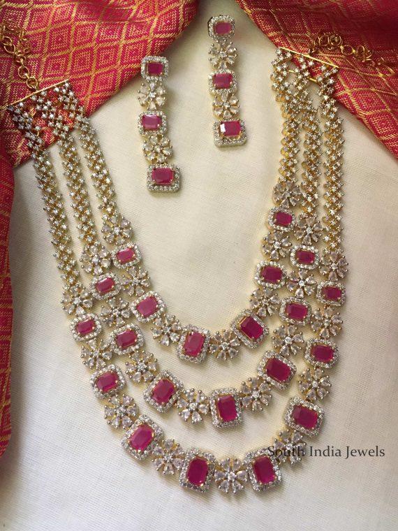 Diamond alike Three Layered Mid Length Necklace-01