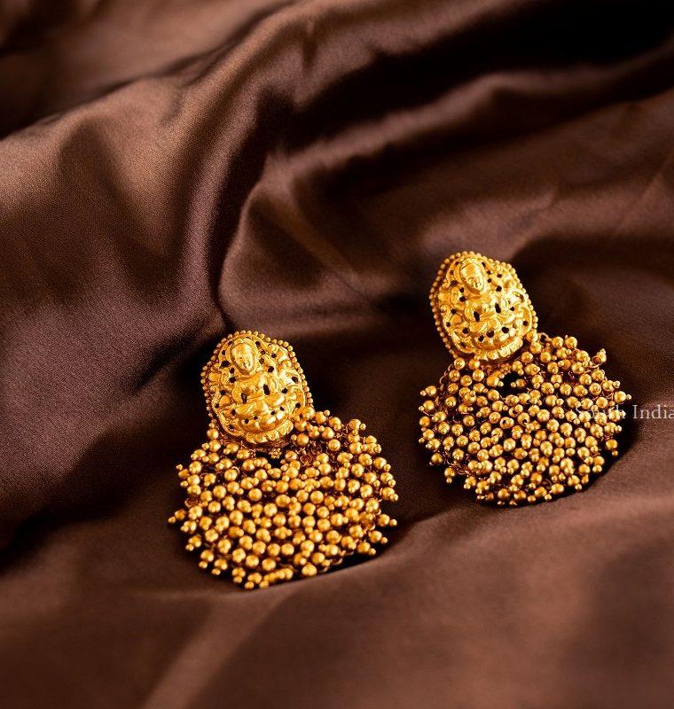 Elegant Golden Cluster Chandbali Earrings