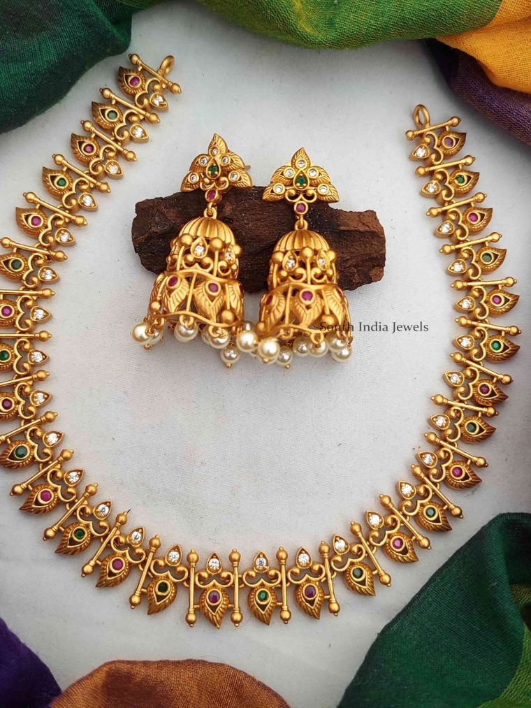 Elegant Imitation Necklace with Jhumkas