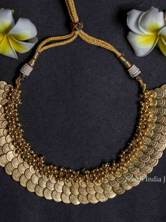 Elegant Lakshmi Coin Necklace with Earrings