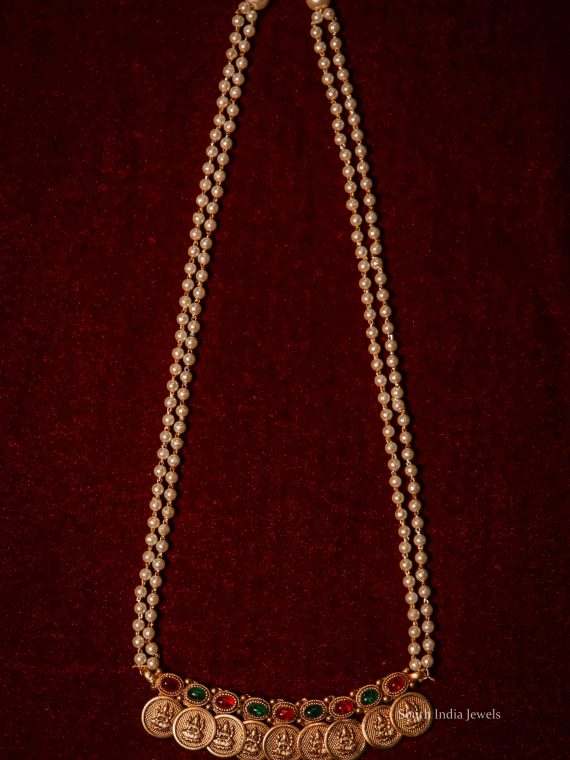 Elegant Lakshmi Coin Pearl Mala