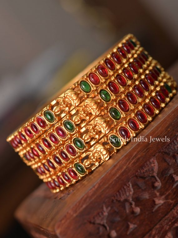 Elegant Lakshmi Design Green & Red Stone Bangles