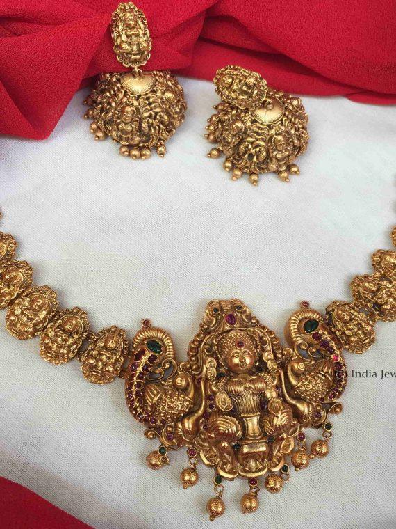 Elegant Lakshmi Design Necklace with Jhumka