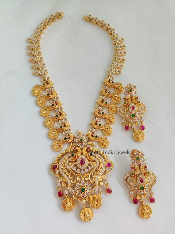 Elegant Lakshmi & Peacock Design Long Haram