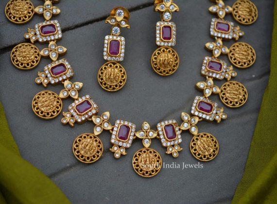 Elegant Matte Finish AD Stone Necklace
